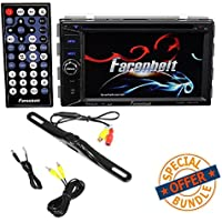 FARENHEIT 2-DIN 6.2 TV CD MP3 DVD USB AUX SD BLUETOOTH CAR STEREO W/ License Plate Bolt-On Rear View Camera w/ Built-In I.R. Camera