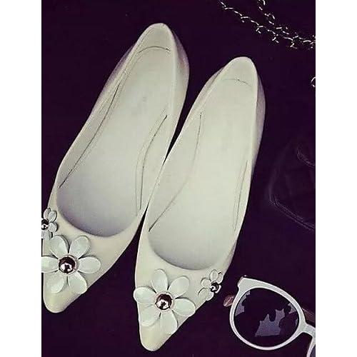 shangyi Chaussures Femme–Ballerines–Lässig–Plastique–Plat Paragraphe–Chaussures à bout pointu–noir/blanc