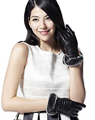 GSG Womens Gifts Fashion Leather Gloves Italian Nappa Rabbit Fur Trim Touchscreen Lady Winter Warm Gloves Mittens