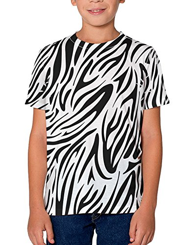 (TooLoud Zebra Print Youth T-Shirt Dual Sided 12 yrs All Over Print White)