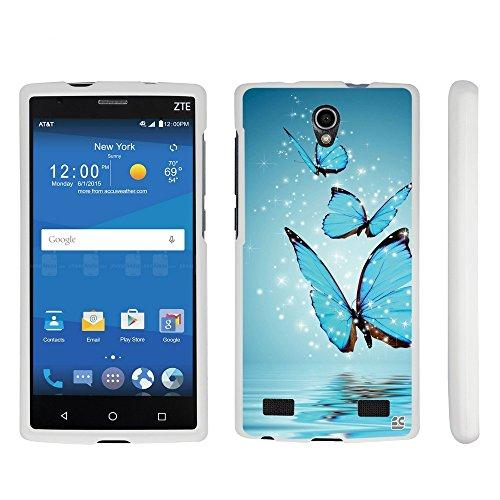 (Beyond CellZTE ZMax 2 Case, Z958 Case, Premium Protection Slim Design 2 piece Snap On Non-Slip Matte Hard Rubberized Phone Cover=Butterfly Reflection)