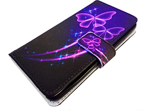 For LG G Stylo LS770 Stylus H631 MS631 Wallet Pouch Card Holder Phone Case + Happy Face Phone Dust Plug (Wallet Purple Butterfly) -  PT