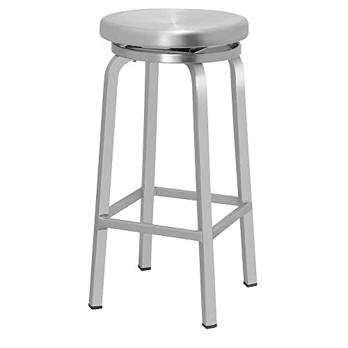 Renovoo Aluminum Swivel Backless Bar Stool, Commercial Quality, Brushed Aluminum Finish, 30 Inch Seat Height, Indoor Outdoor Use, 1 Pack