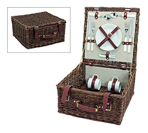 Picknickkorb, beige/creme braun weiß | Picknick Set für 2 Personen | 12 Teile