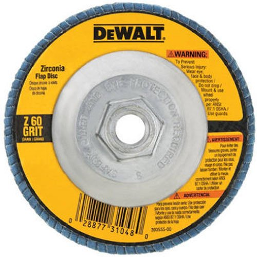 DEWALT DW8312 4-1/2-Inch by 5/8-Inch-11 60 Grit Zirconia Angle Grinder Flap - Angle Grinder Disc For