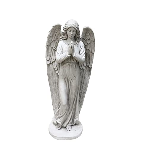 Alpine Corporation QFC100 Praying Angel Statue Outdoor Decor for Garden, Patio, Deck, Porch-Yard Art, 47 , White