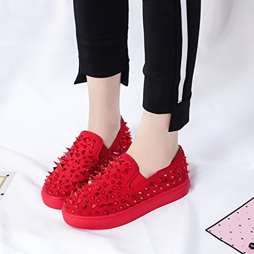 Carolbar Womens Fashion Comfort Casual Spikes Loafers Flats Shoes Red Spike WJtcjoaUgK