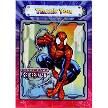 Spiderman Thank You Cards Pack Of 8 Amazon Co Uk Toys Games