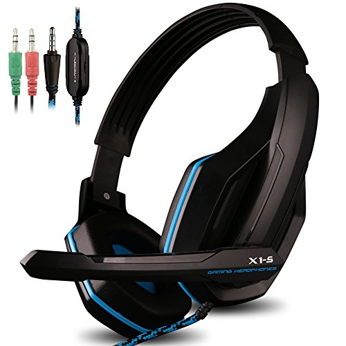 AFUNTA Gaming Headset Compatible PS4 PC Smart Phone Laptop Tablet Mobilephones MP3 MP4,OVAN X1-S 4 Pin 3.5mm Jack Multi Function Game Headphones with Mic