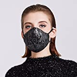 MeHow Masks Lace Embroidery Women Mouth Mask PM2.5 Anti-dust Haze Six-layer Silicone Composite Nose Filter Washable Cotton Mouth Masks with Replaceable Filter (1 Mask + 2 Filters)