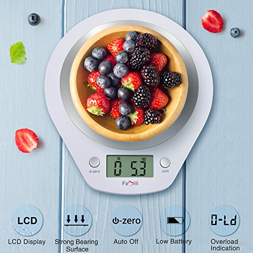 Famili Digital Kitchen Scale Precise Multifunction Electronic Food Scale with Stainless Steel Platform,11lbs/5kg(Battery Included),Elegant White
