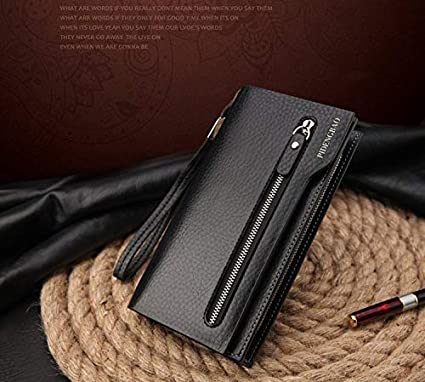 Brand Design Zipper Wallet Genuine Leather Mens Wallets Long Casual Brown Purse cartera Hombre carteira Masculina
