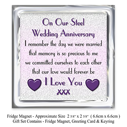 My Husband 11th Wedding Anniversary Gift Set   Card, Keyring U0026 Fridge  Magnet Present   On Our Steel Anniversary   11 Years   Sentimental Verse I  Love You: ...