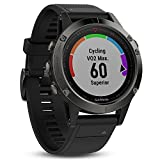Garmin fenix 5 (Slate Gray with Black Band) GIFT BOX Bundle | Includes Glass Screen Protector, PlayBetter USB Car/Wall Adapter & Hard Carrying Case | Multi-Sport GPS Watch with Wrist-Heart Rate