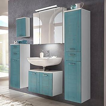 Lomadox Landhaus Badezimmermöbel Set Mit Massivholzfronten Blau Gewischt,  Waschbeckenschrank, LED Spiegelschrank, Hochschrank