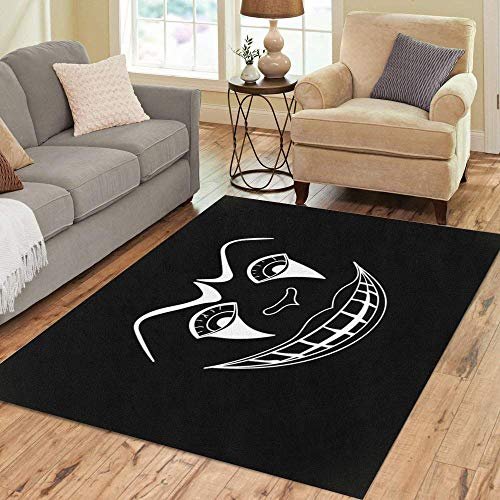 Semtomn Area Rug 2' X 3' Character White Scary Clown Face on Autumn Black Cartoon Home Decor Collection Floor Rugs Carpet for Living Room Bedroom Dining Room -