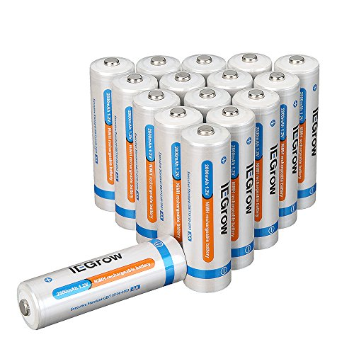 iEGrow AA Ni-MH Rechargeable Batteries 2800mAh (16-pack)