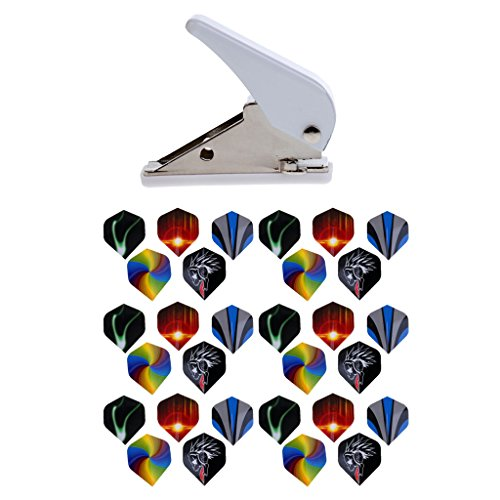 Dolity 6 Sets (30 Pieces) Durable PET Dart Flights With Aluminium Flight Hole Punch Tool for Steel and Soft Tip Darts
