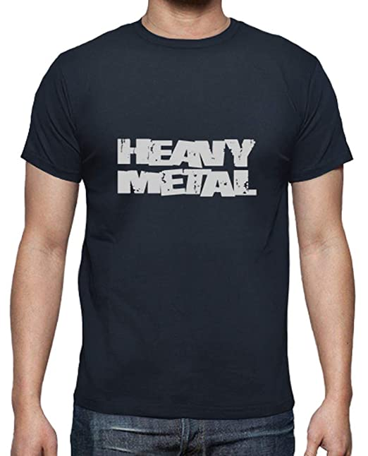 latostadora - Camiseta Heavy Metal para Hombre Azul Marino L