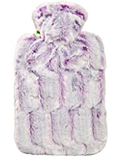 Hugo Frosch 1.8 L Classic Hot-Water Bottle with High-Pile Microfiber Velvety Fur Look Cover (Purple-Silver) - Made in Germany