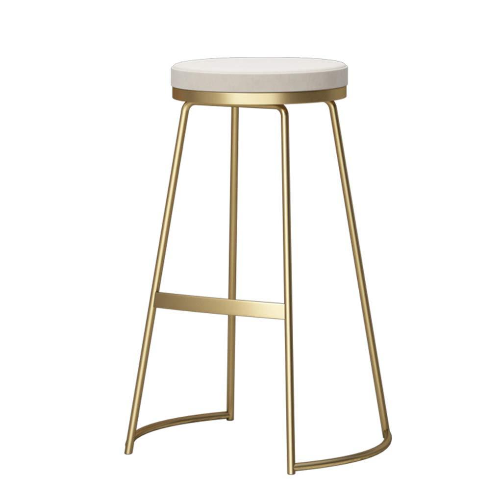 Barstoo 北欧の鍛造鉄製の椅子の家のフロントデスクバーのスツール近代的なミニマリストの美容院 (色 : Gold+white, サイズ さいず : 45*53CM) 45*53CM Gold+white B07K8N5CZC