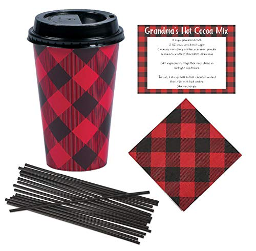 Disposable Coffee or Hot Chocolate Cups (16 oz) with Lids, Napkins, Stir Straws and Recipe - Red & Black Buffalo Plaid - Cocoa Bar Kit (24 Count Set)