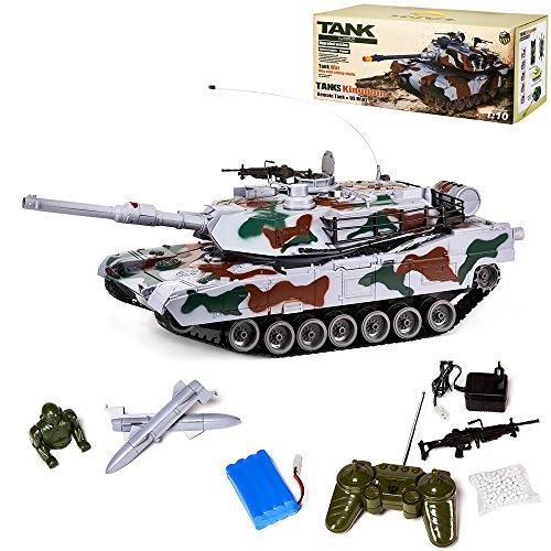 XXL 83 CM RC M1 ABRAMS Panzer R/C MAßSTAB 1:12 Schussfunktion Kampfpanzer GRAU