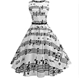 Music Note Printing Robe Casual Vintage Sleeveless O-Neck Dresses as picture XXL