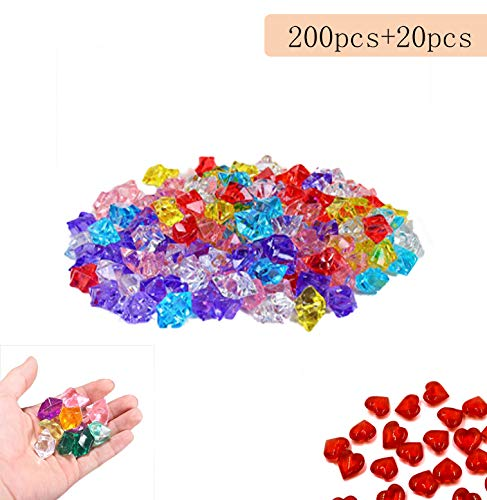 Chloris Elf Ice Rock Crystals- Multicolored Acrylic Diamonds - 200pcs for Wedding, Vase Fillers,Arts & Crafts,Home Decoration with 20pcs Red Acrylic Heart as Gifts
