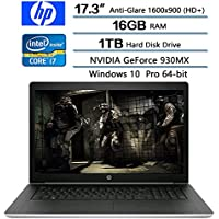 2018 HP Flagship ProBook 470 G5 Notebook PC, 17.3 Anti-Glare HD+ Display, Intel Core i7-8550U 1.8GHz, 16GB DDR4 SDRAM, 1TB HDD, NVIDIA GeForce 930MX, Win 10 pro