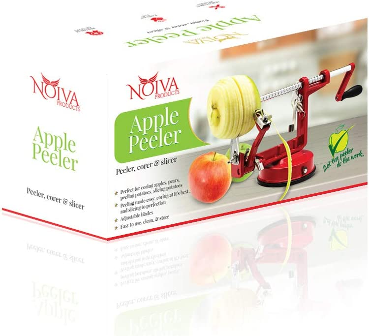 Cast Magnesium Apple Peeler by Noiva Products- Triple-threat action slice, core and peel with an adjustable blade