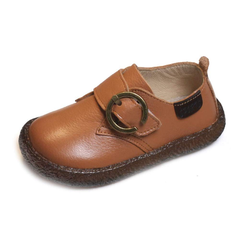 F-OXMY Toddler Kids Comfy Soft Oxfords Dress Shoes Anti-Skid Rubber Outsole Causal Shoes Boys Brown