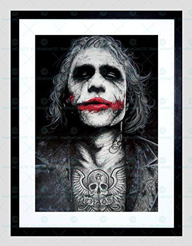 BATMAN JOKER HEATH LEDGER TATTOO INKED FRAMED ART PRINT BY W.MAGUIRE (Batman Art Print Poster)