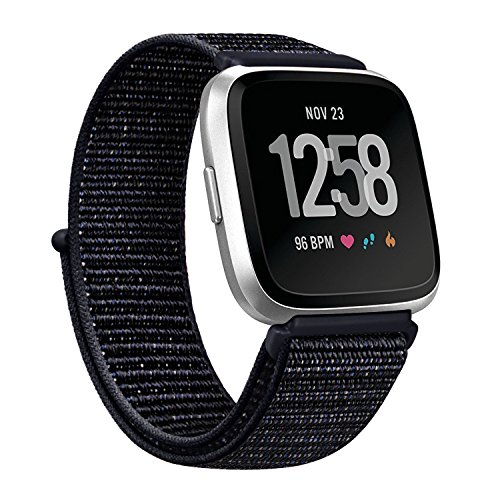 AK for Fitbit Versa Bands, Soft Fabric Replacement Wristband Sports Strap with Fastener Adjustable Velcro Closure for Fitbit Versa Women Men (Black, 5.5