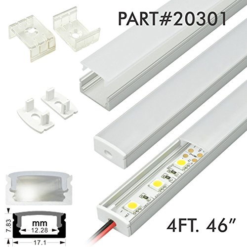 10 Pack of TECLED 4ft 46'' LED Aluminum Profile U-Shape Channel System with Frosted Diffuse Cover, End Caps, Mounting Clips Surface Mount, Fit 2835/5050 LED Strip 17.1mmx7.3mm Clear Anodized Part#20301 by TECLED (Image #1)