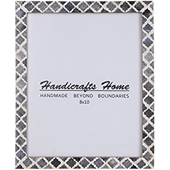 Handicrafts Home 8x10 Picture Photo Frame Moorish Damask Moroccan Art Inspired Vintage Wall Décor Frames [8x10 Grey]