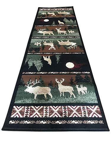 Carpet King Cabin Style Deer Elk Moose Country Wilderness Lodge Runner Rug Design 382 Lodge (2 Feet 2 Inch X 7 Feet 2 Inch)