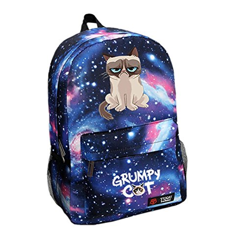 Grumpy Cat Backpack Fashion School Backpack Star Sky Blue