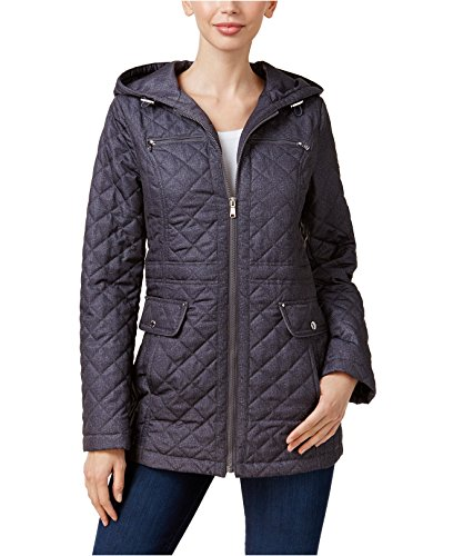 Laundry Coat Quilted (Laundry by Design Women's Impulse Hooded Quilted Coat Grey Melange XS)