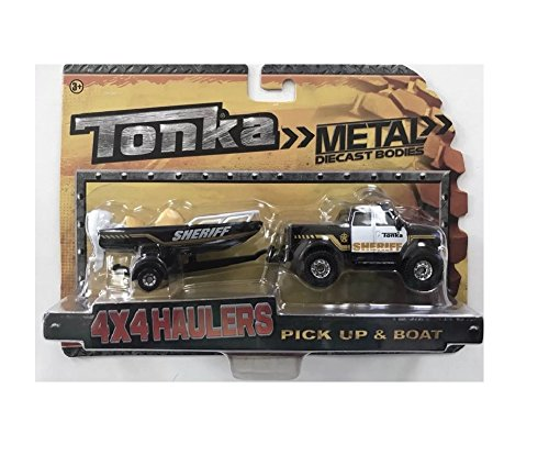 Tonka 4 X 4 Haulers Metal Diecast Bodies 1:55th scale 4x4 Sheriff Pickup Truck with Trailer and Boat