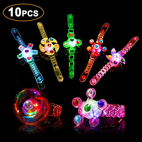 Light Up Bracelet Fidget Toys 10 Pack LED Party Favors for Kids Girls / Boys Prizes Glow In The Dark Hand Spin Stress Relief Anxiety Toy for Classroom Christmas Birthday Celebration New Year Eve Party