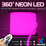 KERTME 360° Neon Led Type AC 110-120V 360 Degree NEON LED Light Strip, Flexible/Waterproof/Dimmable/Multi-Modes LED Rope Light + Remote for Home/Garden/Building Decor (65.6ft/20m, Pink)