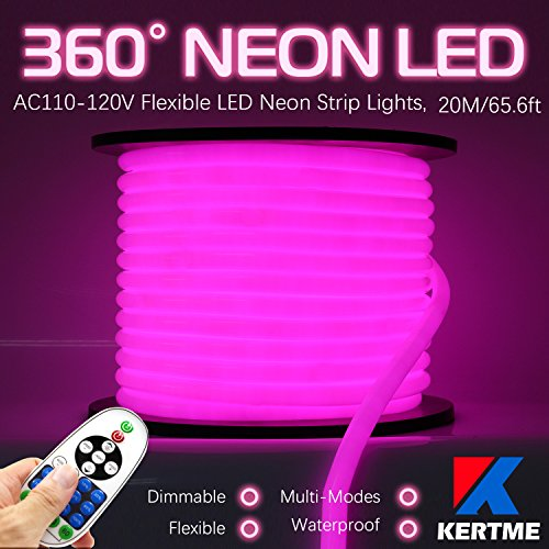 KERTME 360° Neon Led Type AC 110-120V 360 Degree NEON LED Light Strip, Flexible/Waterproof/Dimmable/Multi-Modes LED Rope Light + Remote for Home/Garden/Building Decor (65.6ft/20m, Pink) by KERTME (Image #9)
