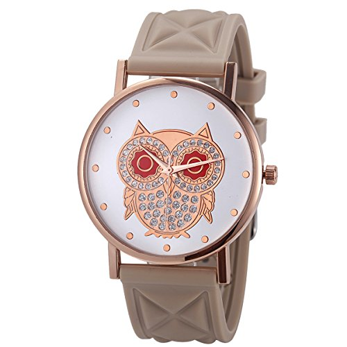Wal-Joy Women's Rose Gold Owl Dial Design Grid Silicone Watch Beige