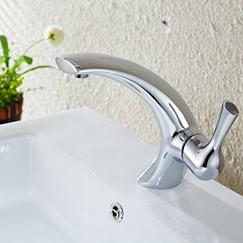 FLG Modern Single Handle Bathroom Vanity Vessel Sink Faucet, Chrome Finish