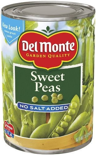 Del Monte Sweet Peas, No Salt Added, 15-Ounce Cans (Pack of 12) by Del Monte