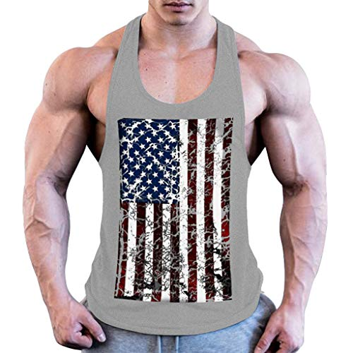 Tank Tops Mens GREFER Summer Sports Fitness Vest Flag Printing Sleeveless Tops Loose Blouse Gray
