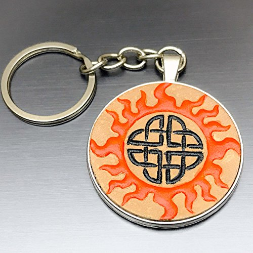 Character Costumes Dragon Blaze (Orange and Black Hand-Painted Celtic Flame Embossed Leather Keychain)