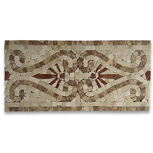 Everlasting Crema 5.9x12 Marble Mosaic Border Listello Tile Polished
