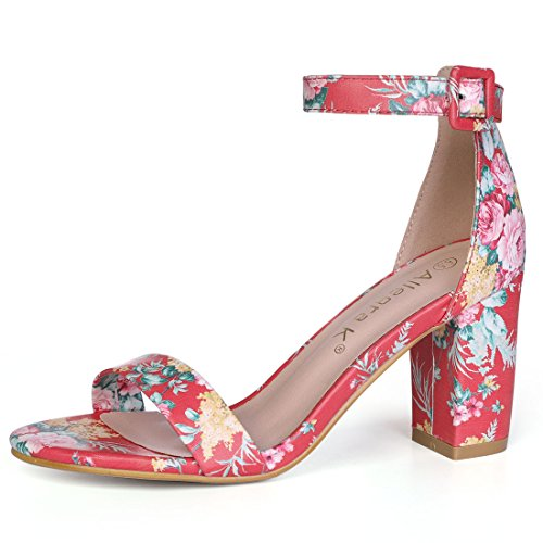 Embroidered Heels - Allegra K Women's Floral Ankle Strap Block Heel Red Sandals - 9.5 M US